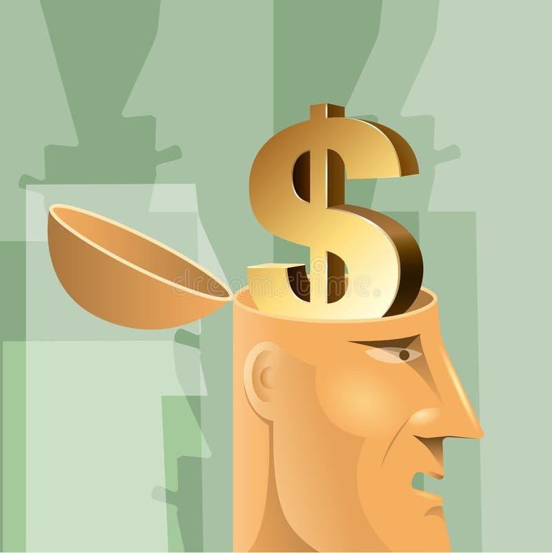 Begreppsdesignen för konstgjord intelligens, dollar undertecknar in hjärnan vektor illustrationer