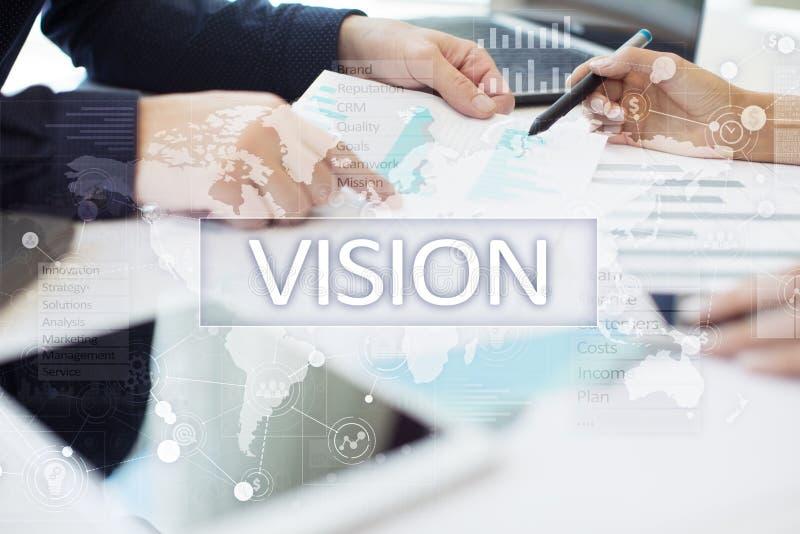 begreppshand för affärskvinna som 3d pekar visionord Affärs-, internet- och teknologibegrepp arkivfoto
