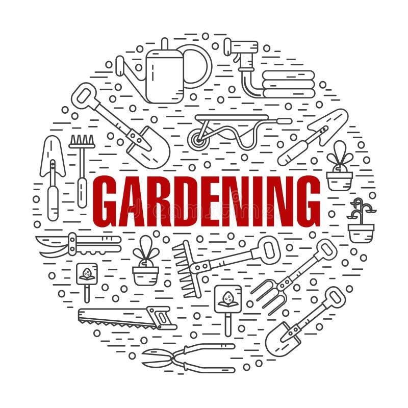 Begreppsillustration av att arbeta i trädgården stock illustrationer