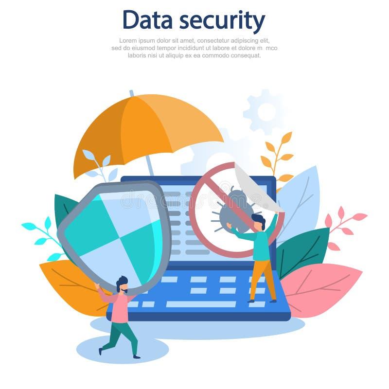 Begreppsillustration av cybersecurityen, dataskydd, datateknik som är online-, rengöringsduk, en hacker, skydd Plan vektor de för vektor illustrationer