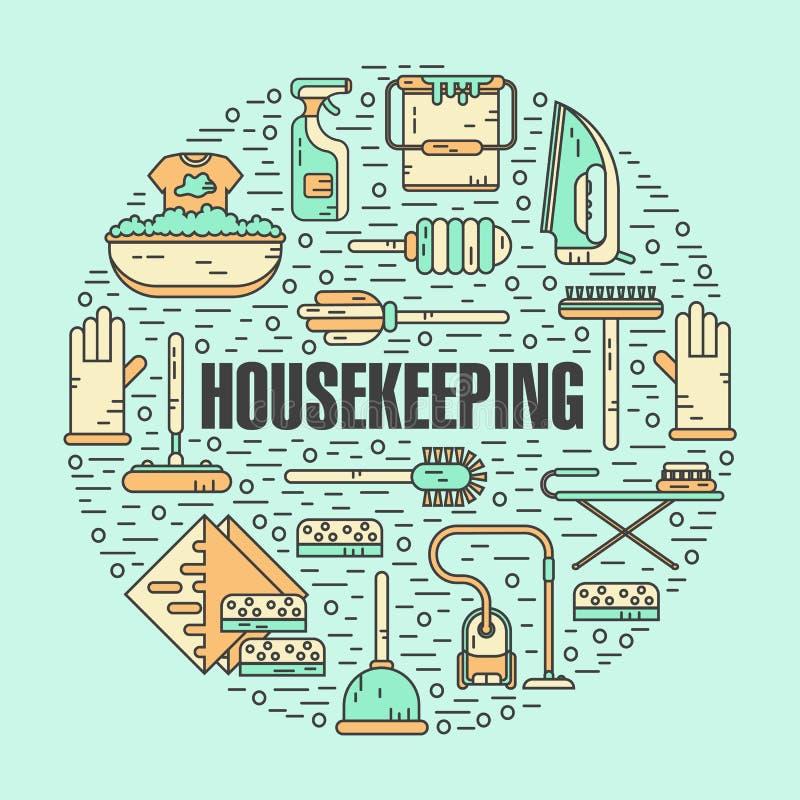 Begreppsillustration av hushållning stock illustrationer