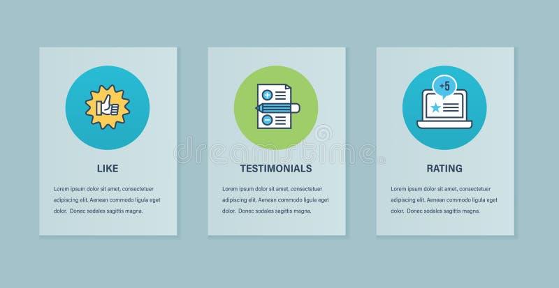 Begreppsillustration av intyg, teknologi, kommunikationen, service och marknadsföringen stock illustrationer