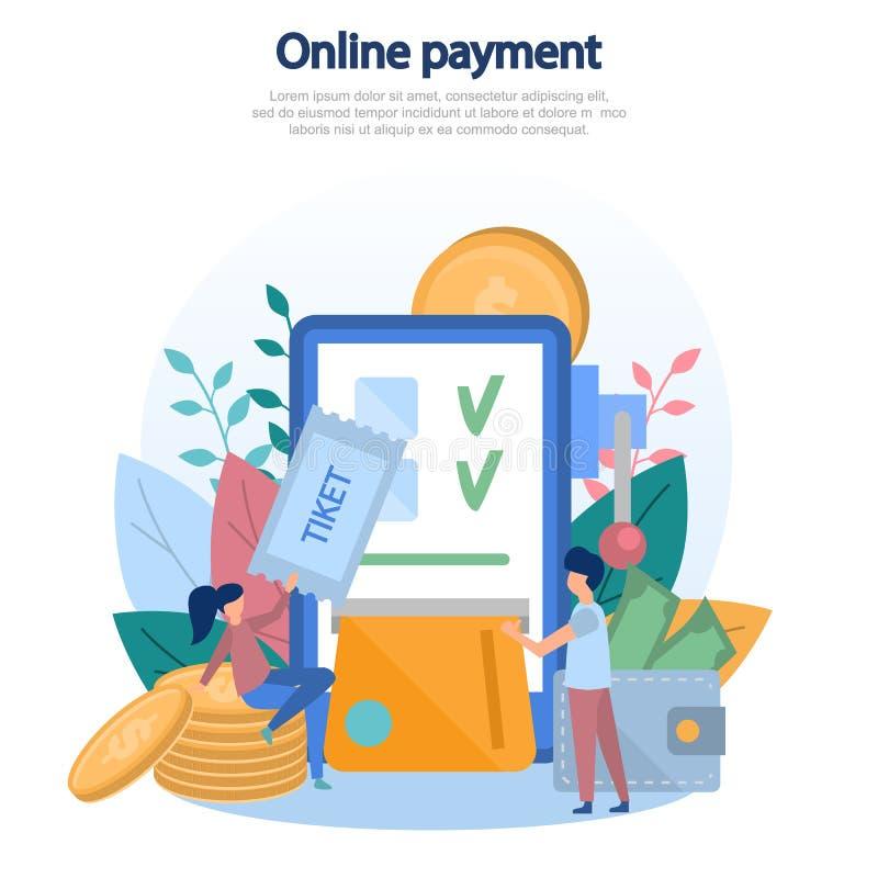 Begreppsillustration av online-betalning av beställningen, köp av service, köp av gods, cashless betalningar, mobil applicatio stock illustrationer