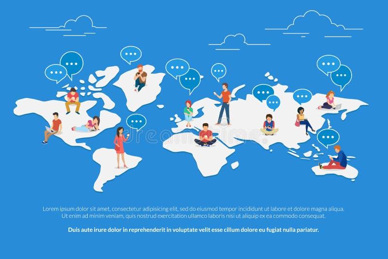 Begreppsillustration för global kommunikation royaltyfri illustrationer
