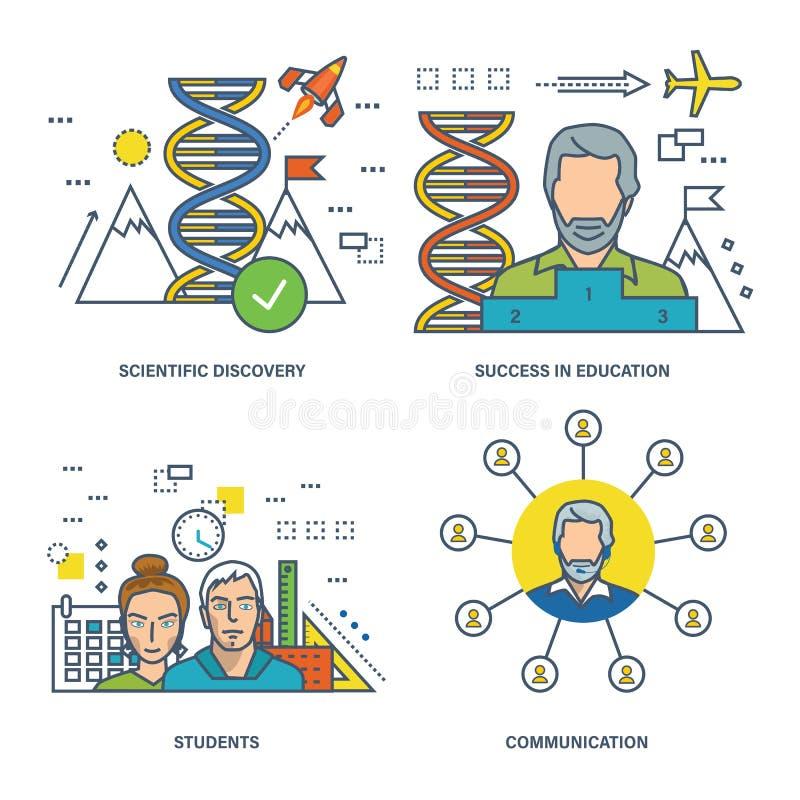 Begreppsillustration - kommunikation, upptäckter och prestationer i vetenskapsutbildning stock illustrationer