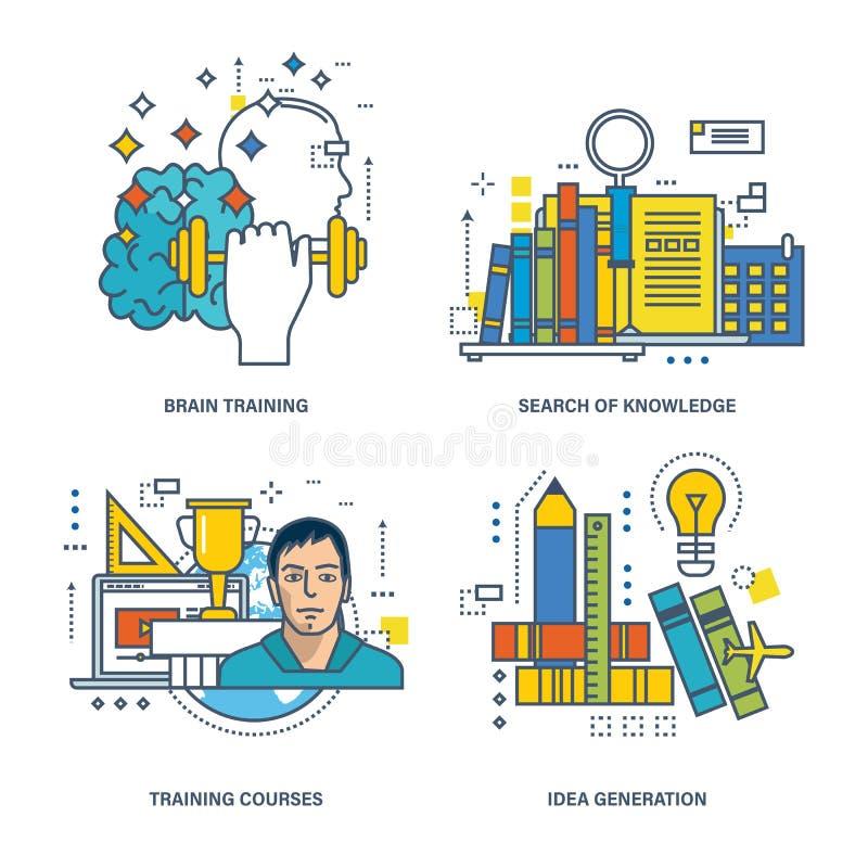 Begreppsillustration - sökande av kunskap, hjärnutbildning, idéutveckling stock illustrationer