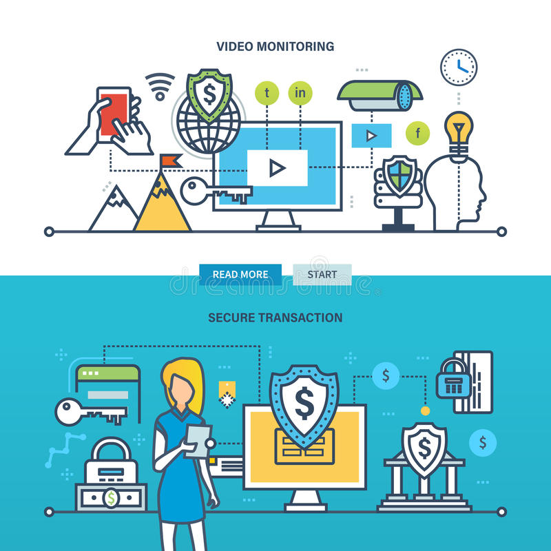 Begreppsillustration - teknologi, affär, video övervakning och säker transaktion royaltyfri illustrationer