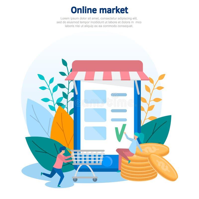 Begreppsillustrationen av direktanslutet shoppar, online-köpet, online-lagret, försäljningen och köpet, webbsida Plan vektordesig royaltyfri illustrationer