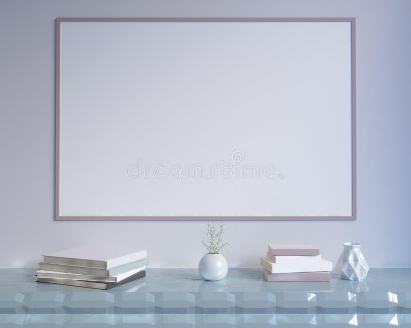 Begreppsinre, förlöjligar upp affischen på väggen, illustrationen 3d framför, framförande som är retro, rum som är scandinavian stock illustrationer