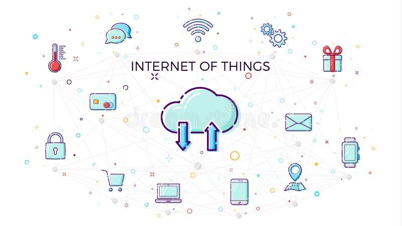 Begreppsinternet av saker Molnnätverksbegrepp för förbindelsesmarta apparater Vektorillustration av IoT och nätverksanslutningar vektor illustrationer