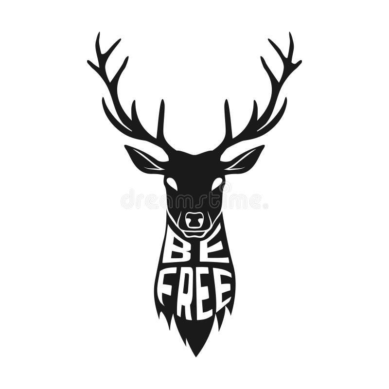 Begreppskonturn av hjortar head med text inom stock illustrationer