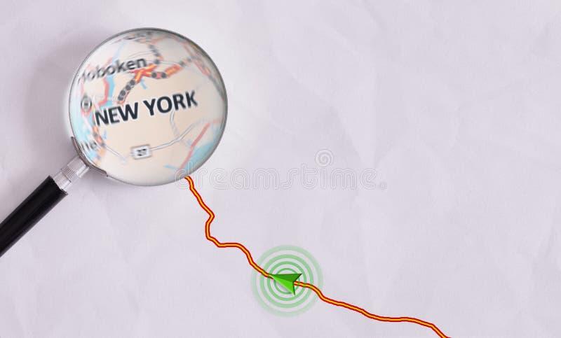 Begreppslopprutt som är destinerad för New York royaltyfria bilder