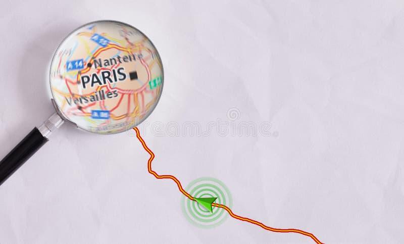Begreppslopprutt som är destinerad för Paris royaltyfri foto