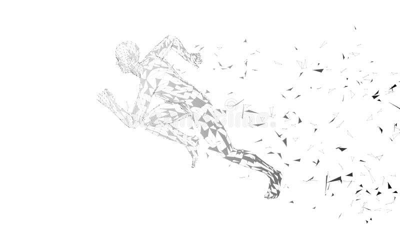 Begreppsmässig abstrakt rinnande man Löpare med förbindelselinjer, prickar, trianglar Konstgjord intelligens, digital sport stock illustrationer