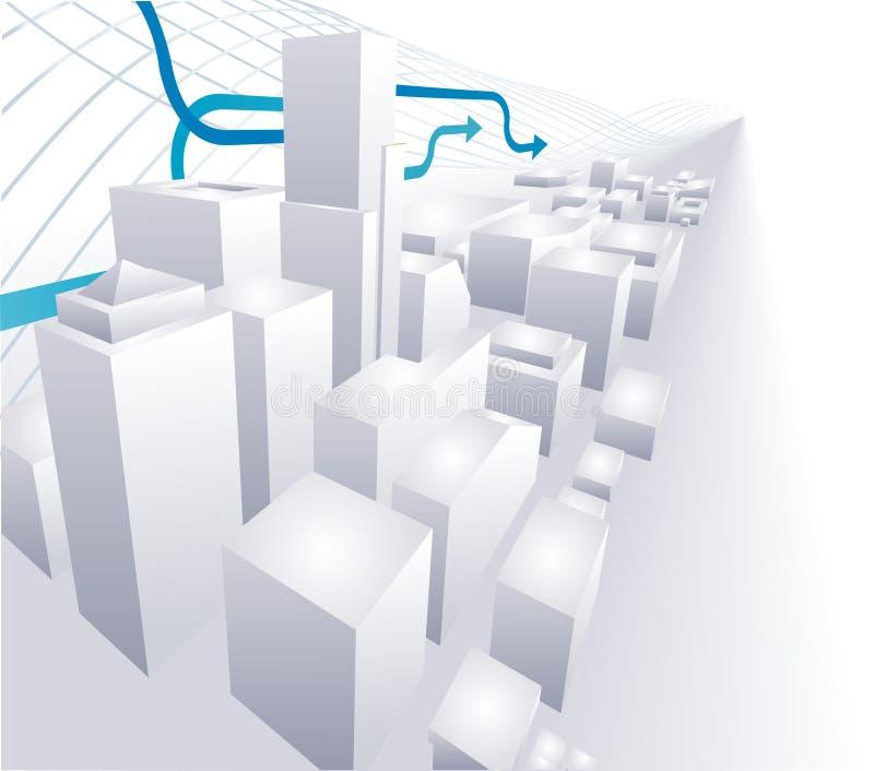 begreppsmässig abstrakt stad för ba 3d royaltyfri illustrationer