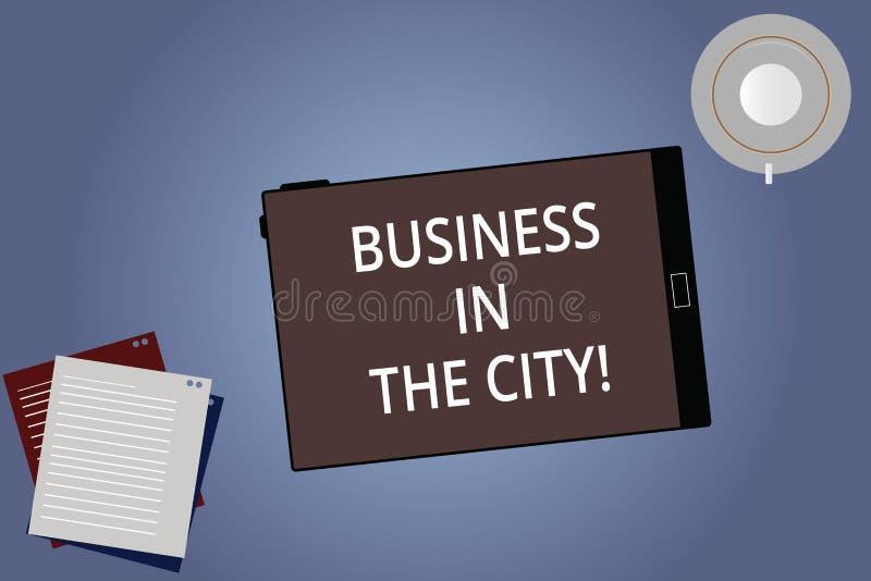 Begreppsmässig affär för handhandstilvisning i staden Affärsfoto som in ställer ut yrkesmässiga kontor för stads- företag stock illustrationer