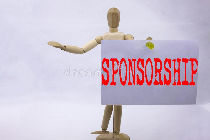Begreppsmässig affärsidé för sponsorskap för visning för inspiration för överskrift för handhandstiltext för ordmolnbegreppet som arkivbild