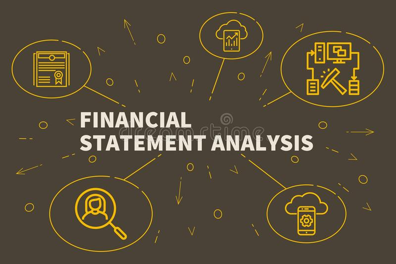 Begreppsmässig affärsillustration med den finansiella statemen för ord vektor illustrationer