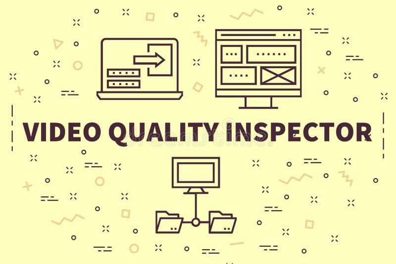 Begreppsmässig affärsillustration med den videopd kvaliteten för ord in stock illustrationer