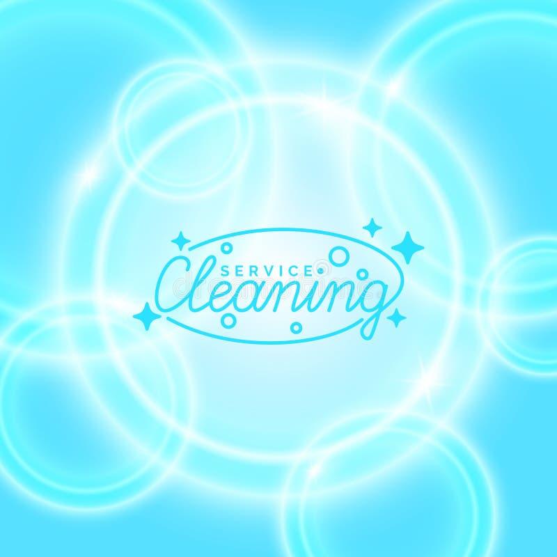 Begreppsmässig affisch och logoen för rengörande service stock illustrationer