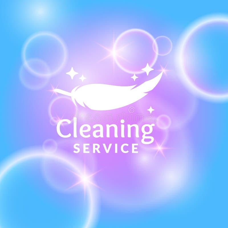 Begreppsmässig affisch och logoen för rengörande service royaltyfri illustrationer