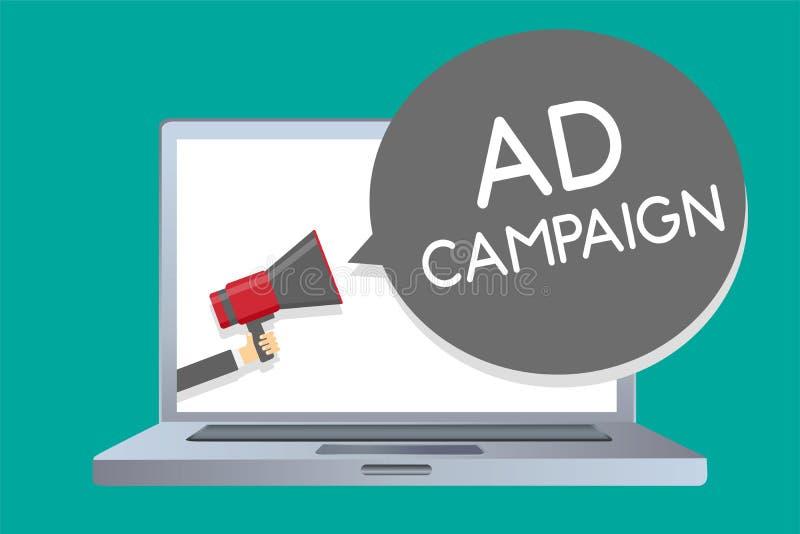 Begreppsmässig aktion för annons för handhandstilvisning Affärsfoto som ställer ut befordran av den specifika produkten eller ser royaltyfri illustrationer
