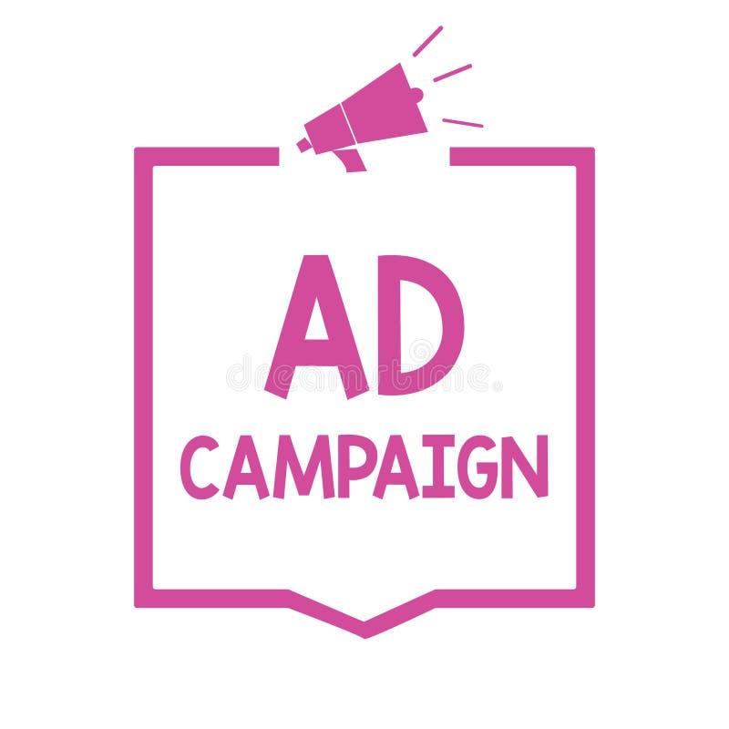 Begreppsmässig aktion för annons för handhandstilvisning Affärsfoto som ställer ut befordran av den specifika produkten eller ser stock illustrationer