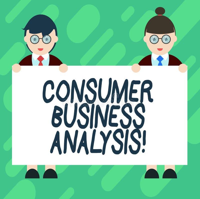 Begreppsmässig analys för affär för konsument för handhandstilvisning Affärsfoto som mot efterkrav ställer ut information på målm stock illustrationer