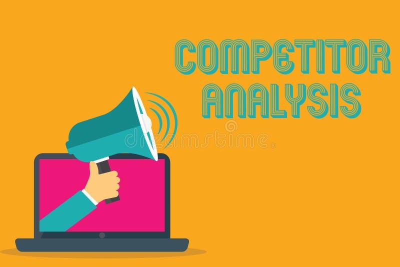 Begreppsmässig analys för konkurrent för handhandstilvisning Affärsfototext bestämmer styrkasvagheten av den konkurrenskraftiga m vektor illustrationer