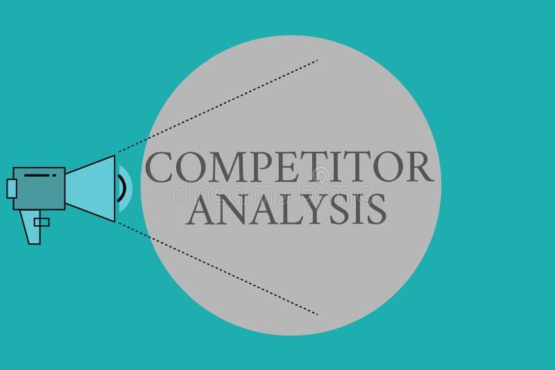 Begreppsmässig analys för konkurrent för handhandstilvisning Affärsfototext bestämmer styrkasvagheten av konkurrenskraftigt royaltyfri illustrationer