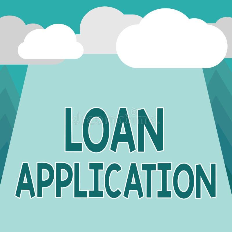 Begreppsmässig applikation för lån för handhandstilvisning Affärsfoto som ställer ut dokumentet som ger finansiell information vektor illustrationer