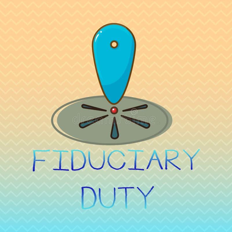 Begreppsmässig arbetsuppgift för Fiduciary för handhandstilvisning Affärsfoto som ställer ut lagligt åtagande för A att agera i s royaltyfri illustrationer