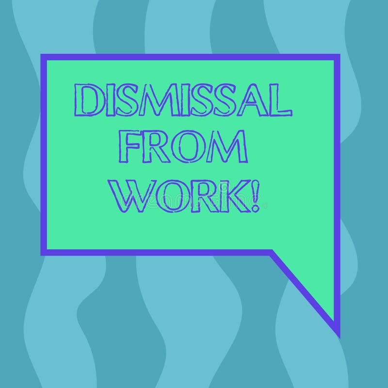Begreppsmässig avskedande för handhandstilvisning från arbete Att ställa ut för affärsfoto som avslutas från anställning för anle royaltyfri illustrationer