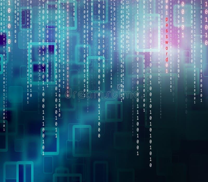 Begreppsmässig bakgrund för binär kod för lösenord vektor illustrationer
