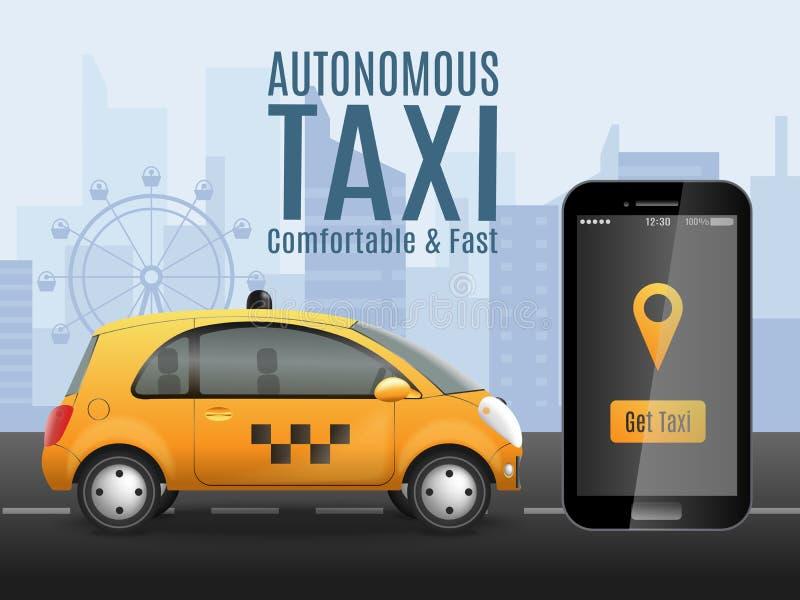 Begreppsmässig bakgrund för framtida taxi vektor illustrationer