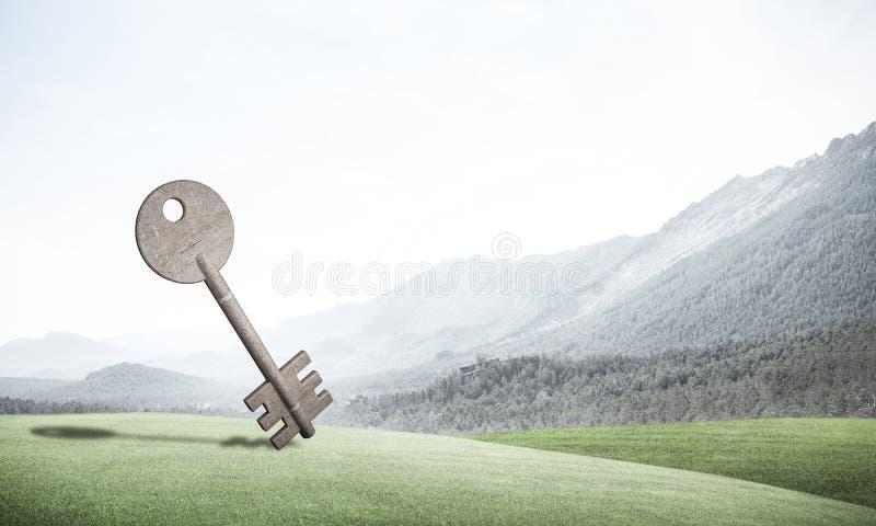 Begreppsmässig bakgrundsbild av betongtangenttecknet och naturligt LAN royaltyfri foto