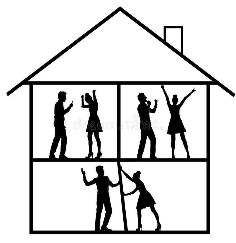 Begreppsmässig bild av den lyckliga och argumentera familjen vektor illustrationer