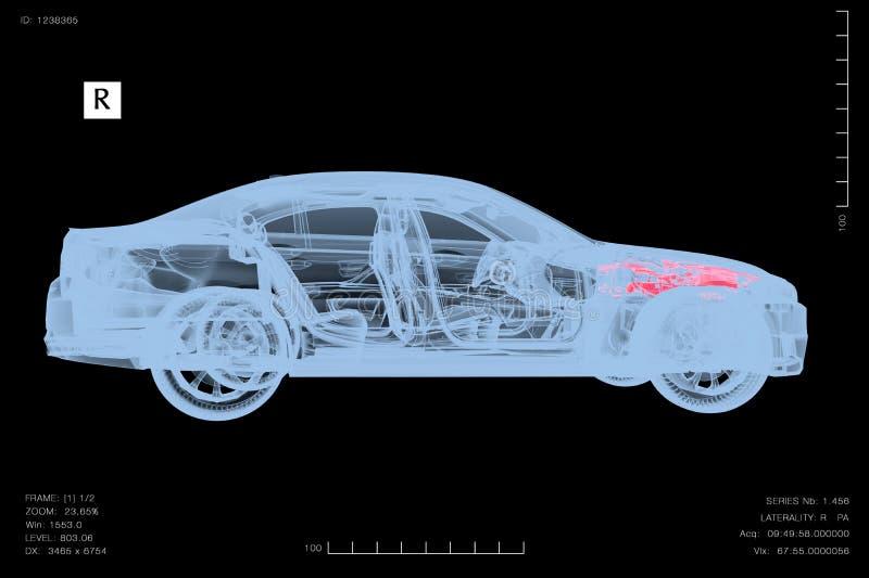 Begreppsmässig bild av en bil under diagnos med röntgenstrålar stock illustrationer