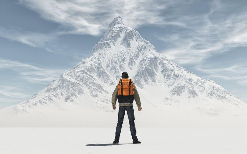 Begreppsmässig bild av en man med ryggsäcken royaltyfri illustrationer