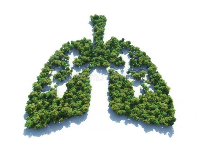 Begreppsmässig bild av en skog i form av lungor stock illustrationer