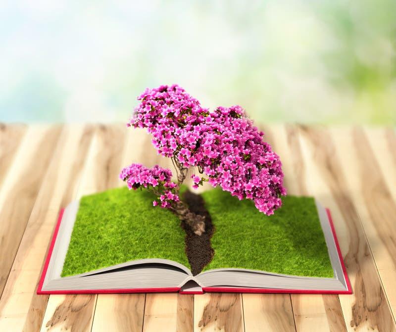 Begreppsmässig bild med det gröna blommandeträdet som växer från boen vektor illustrationer