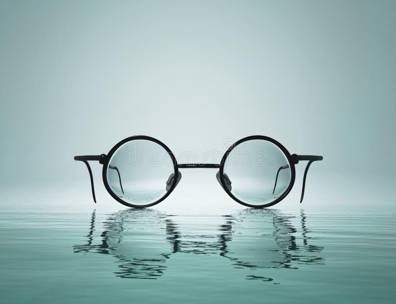 Begreppsmässig bild med glasögon Cristal vision vektor illustrationer