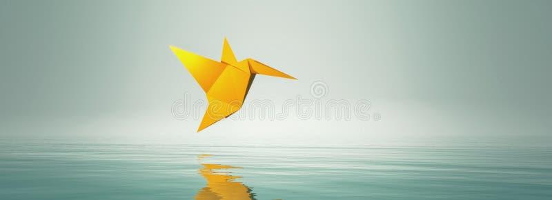 Begreppsmässig bild med origamiflugafågeln royaltyfri illustrationer
