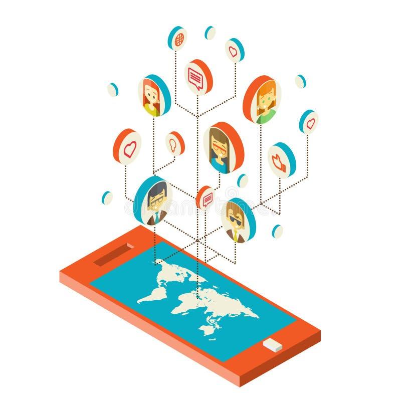Begreppsmässig bild med sociala nätverk plant stock illustrationer