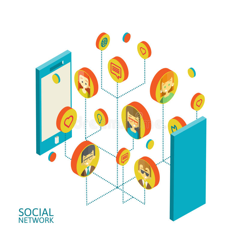 Begreppsmässig bild med sociala nätverk plant vektor illustrationer