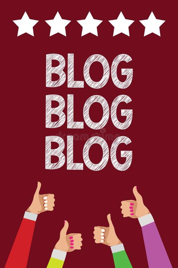 Begreppsmässig blogg för blogg för blogg för handhandstilvisning Kvinnor för män för kommunikation för trend för internet för aff vektor illustrationer