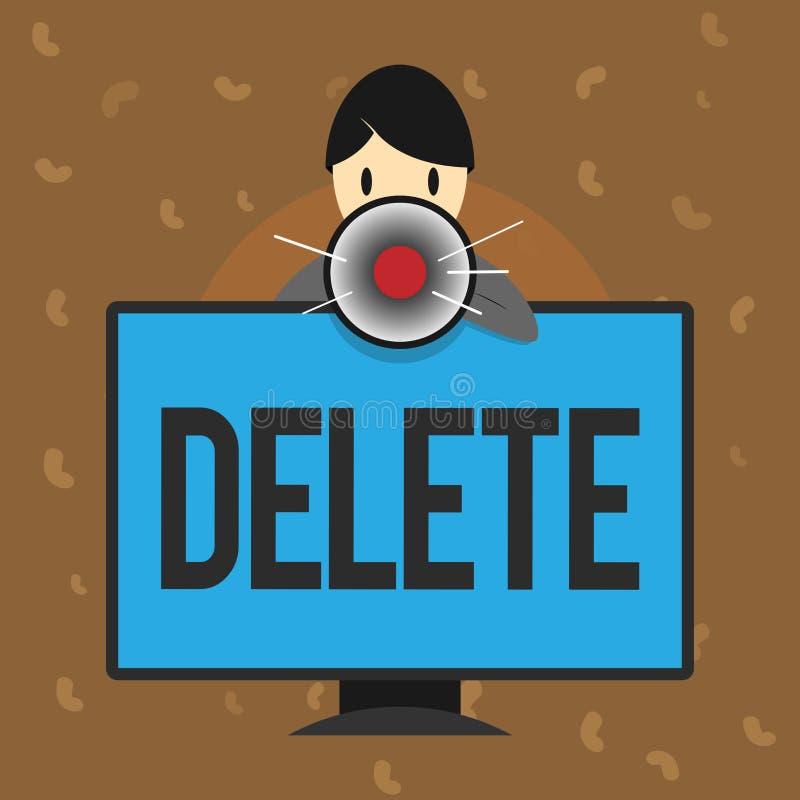 Begreppsmässig borttagnings för handhandstilvisning Affärsfototext tar bort eller utplånar den skriftliga eller utskrivavna fråga stock illustrationer