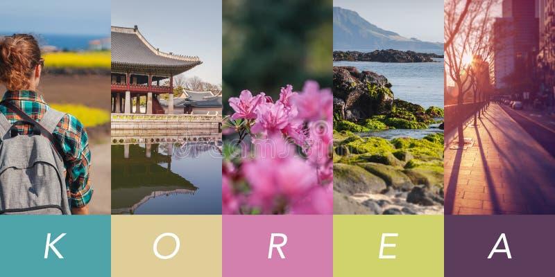 Begreppsmässig collage, lopp till Sydkorea, flera vertikala bilder för din design, med utrymme för text royaltyfri bild