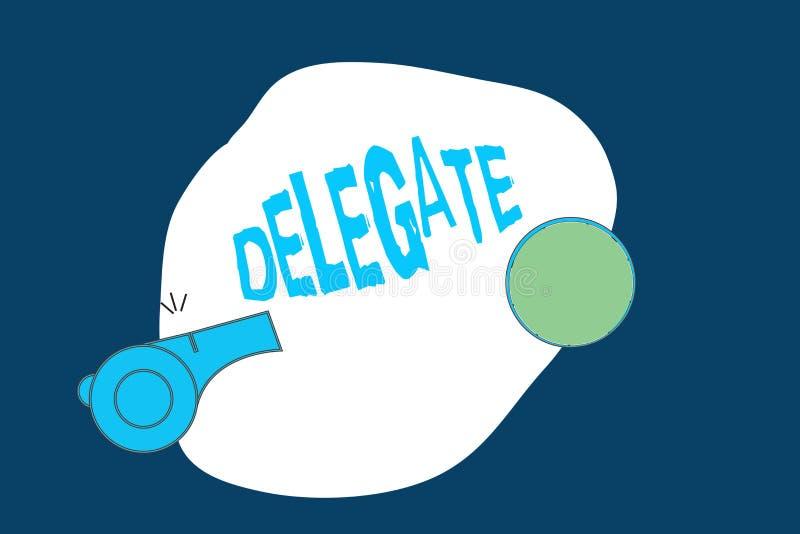Begreppsmässig delegat för handhandstilvisning Demonstrering för affärsfototext som överförs eller bemyndigas för att föreställa  stock illustrationer