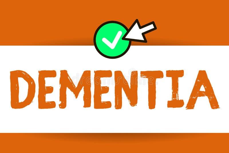 Begreppsmässig demens för handhandstilvisning Försämring för affärsfototext i minnesförlust av den kognitiva fungera hjärnan vektor illustrationer
